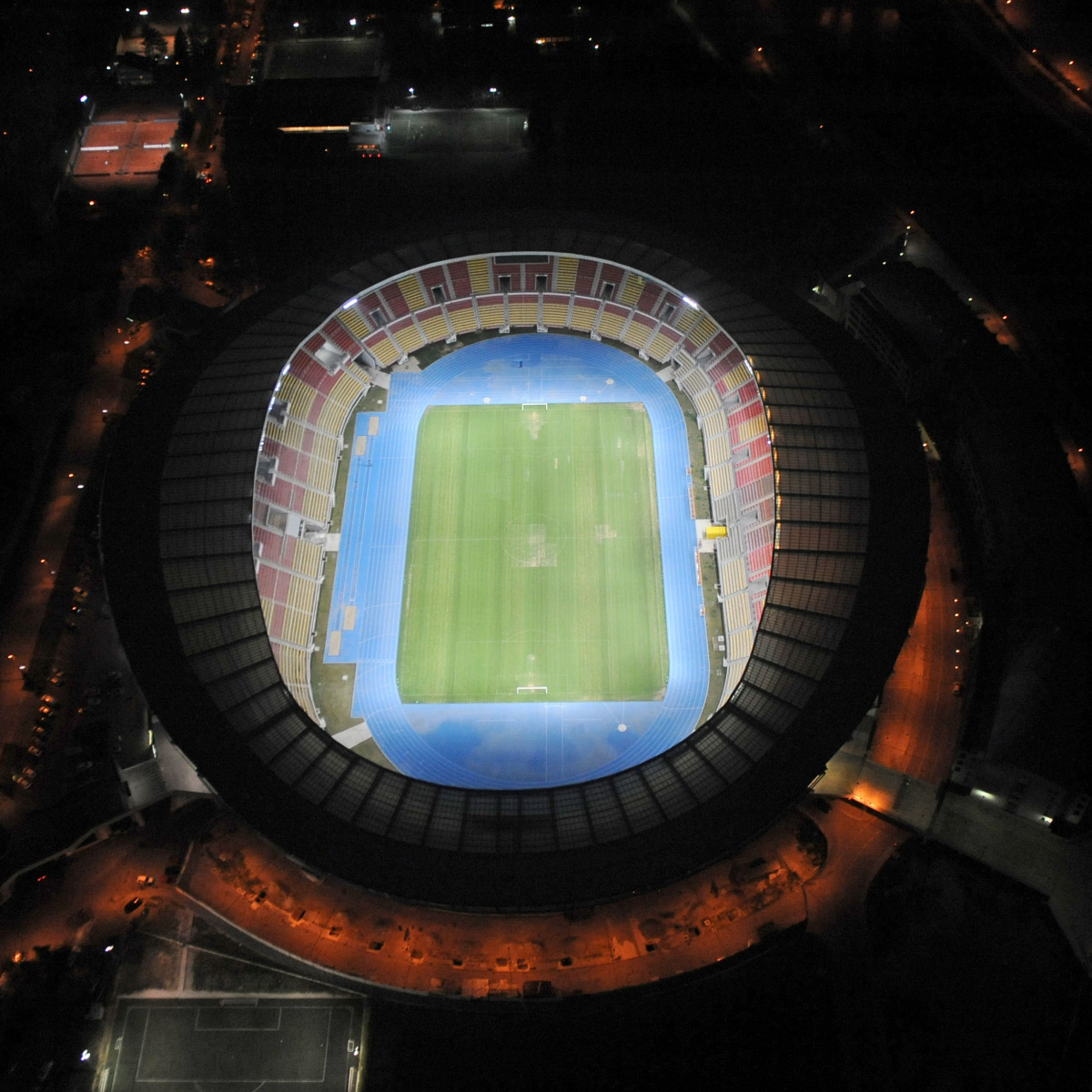 Night shot of stadium; photo: off.net.mk